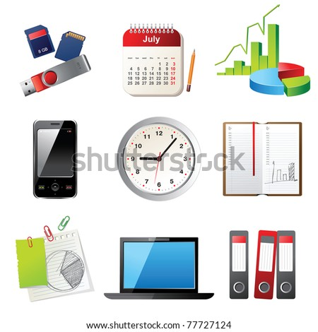 office icons set - vector illustration - stock vector