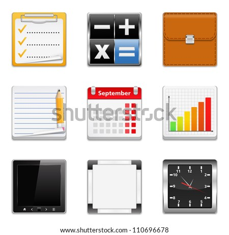 Office icons, vector eps10 illustration