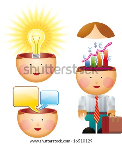 Office in mind. Little office man with chart diagram in his mind. Plus a little head with a big idea and another with chat messages inside.