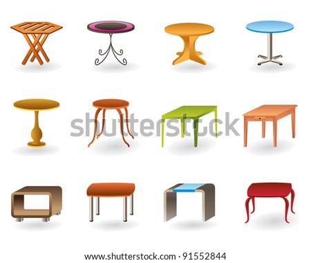 Office, interior and garden tables  - vector illustration