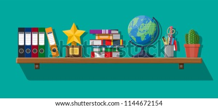 Office interior background with shelves, ring binders, pile of books, pencils, scissors pen, globe, cactus, folders, awards trophy. Vector illustration in flat style