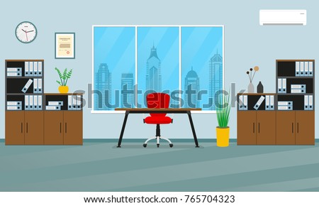 Office interior concept. Modern business workspace with office furniture: chair, desk, bookcase, clock on the wall and window. Vector illustration. - Shutterstock ID 765704323