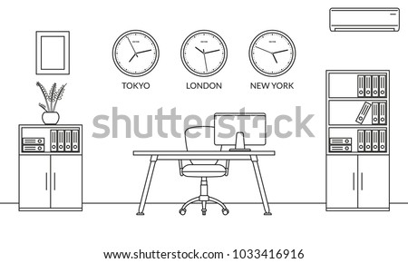 Office interior design outline sketch. Line style business workspace with office chair, desk, computer, bookcase and wall clock set with different time zones. Vector illustration.
