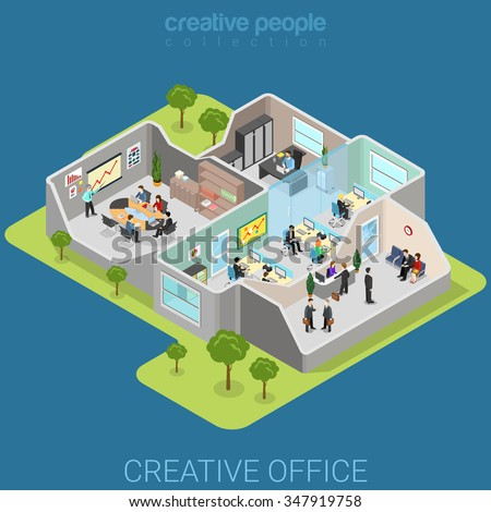 Office interior flat 3d isometry isometric business company corporate department concept web vector illustration. Creative people collection.