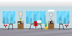 Office interior in flat style. Modern business workspace with office furniture: chair, desk, computer, bookcase, clock on the wall and window. Vector illustration.