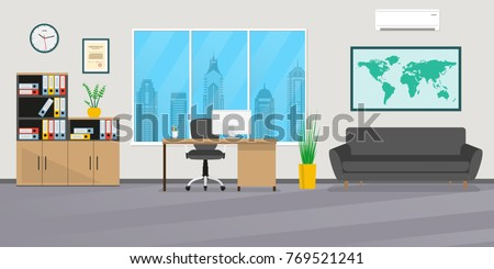 Office Interior In Flat Style. Modern Business Workspace With Office  Furniture: Chair, Desk