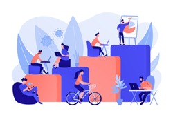 Office interior. People working in creative workspace on open space. Modern workplace, employee happiness, how to boost productivity concept. Pink coral blue vector isolated illustration