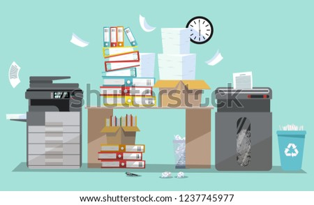 Office interior with multifunction printer scanner and shredder. Copier with flying paper. Copy machine with pile of documents, stack of papers in cardboard boxes. Flat cartoon vector illustration. Foto stock ©