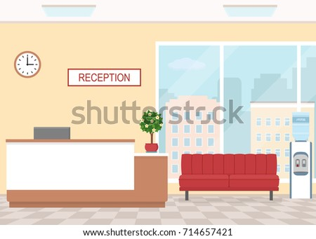 Office interior with reception and waiting area. Flat style, vector illustration.