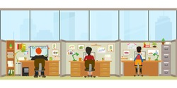 Office interior. workers sitting at desks and work on the computer. Vector illustration in a flat style.