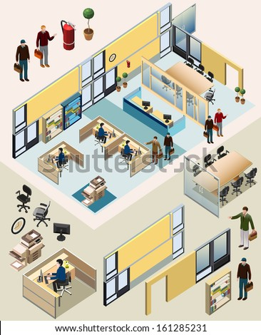 shutterstock office isometric with workstation manager room waiting room recepsionist meeting room awesome office table top view shutterstock id