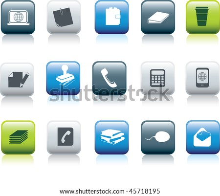 office items icon button collection illustration set