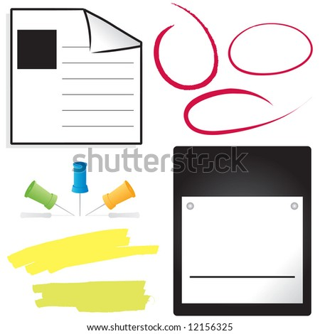 Office items; vector set with space for copy/date to be added