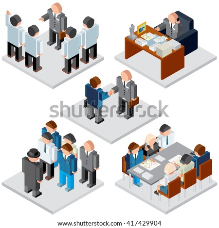 Office Life. Business Relationship. Isometric Vector Images for Your Text and Design.