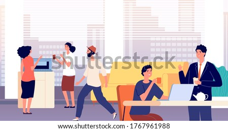 Office lounge. Foyer, people drink coffee tea. Dining room in business center. Common area in hostel, people have lunch and chat. Managers coffee break vector illustration