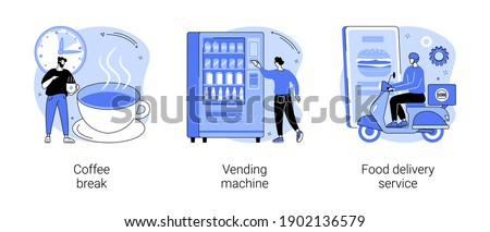 Office lunch abstract concept vector illustration set. Coffee break, vending machine, food delivery service, hot drink, take away, snack and beverage, pizza and sushi online menu abstract metaphor.