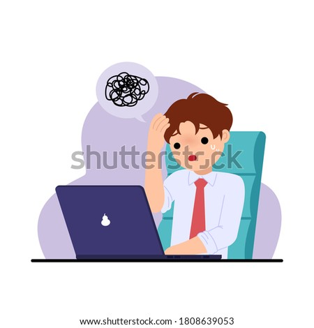Office man feel stressed and troubled. Problem solving. Challenge at work. Office clip art. Flat vector illustration isolated on white.