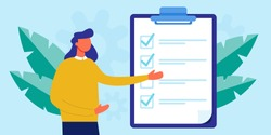 Office Manager, boss fill out form for web banner, infographic, website. Concept done job, checklist, clipboard with long paper document to do list with checkboxes. time management, tasks, success