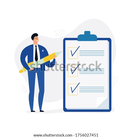 Office Manager, boss fills out form for web banner, infographic, website. Concept done job, checklist.  Clipboard with long paper document to do list with checkboxes. Time and tasks management for success. Stockfoto ©
