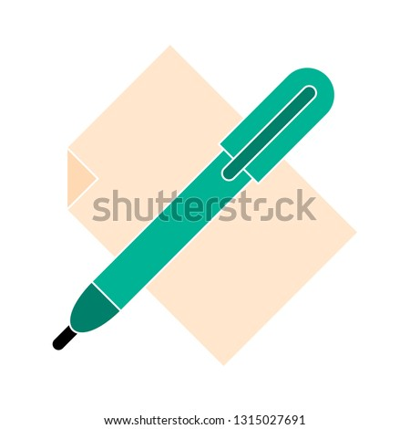 office-material icon- office-material isolated , stationary illustration - Vector pen paper