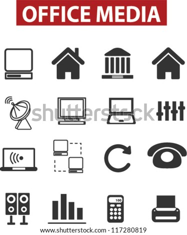 office & media icons set, vector