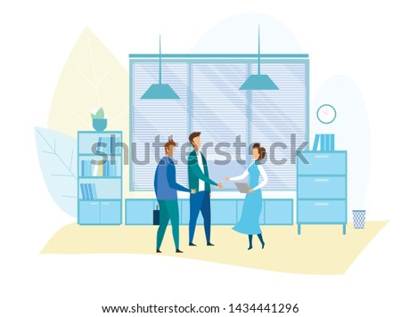 Office Meeting and Business Situation Illustration. Secretary Meets Partners. Top Managers, Supervisor, Assistant, Subordinate Greeting and Handshaking. Flat Vector Cartoon Interior with Shelves