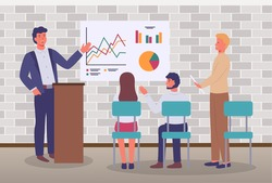 Office meeting businessmen discussing indicators. Man stands behind the podium makes a presentation to colleagues. Business people talking communicating, discussing presentation graphs and charts