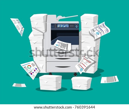 Office multifunction machine. Pile of paper documents. Bureaucracy, paperwork, office. Printer copy scanner device. Professional printing station.