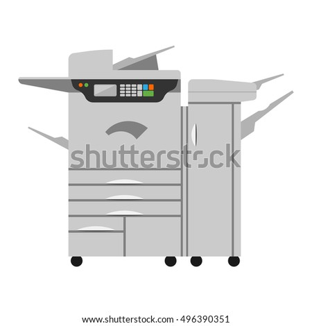 Office multifunction printer copy machine and copy machine paper office printer office equipment isolated on white background