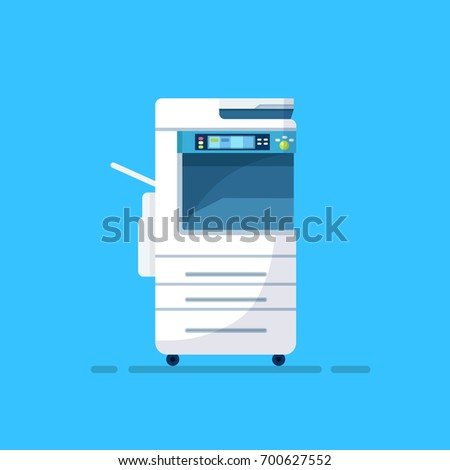 Office multifunction printer scanner. Copier isolated on blue background. Copy machine. Vector cartoon illustration. Flat style design