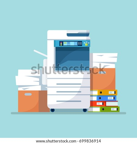 Office multifunction printer scanner. Copier isolated on blue background. Copy machine with a lot of documents, cardboard boxes with papers, folders. Vector cartoon illustration. Flat style design