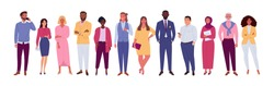 Office multinational team. Vector illustration of diverse cartoon men and women of various races, ages and body type. Isolated on white.