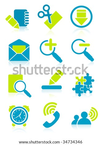 Office object icons, vector illustration, EPS file included