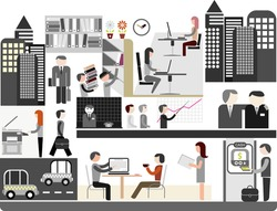 Office of company - color vector illustration. Office workers doing their job. People at work. Business.