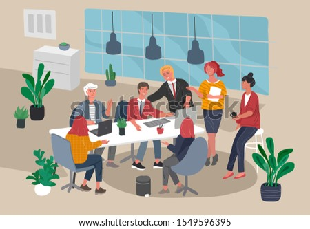 Office or coworking interior workers sitting at desks and communicating, teamwork meeting. Successful team gathering. Group of young trendy people, startup company at workplace. Vector cartoon concept
