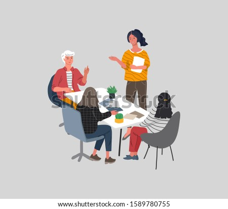 Office or coworking workers sitting at desks and communicating, teamwork meeting. Successful team gathering. Group of young trendy people, startup company. Vector cartoon concept