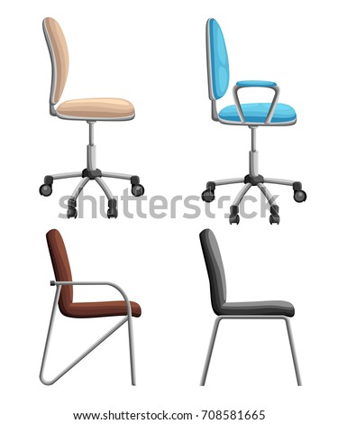 Office or desk chair in various points of view. Armchair or stool in front, back, side angles. Corporate castor furniture flat icon design. Web site page and mobile app design Vector illustration
