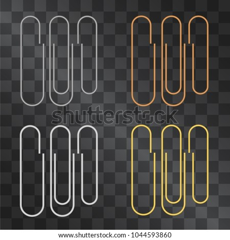 Office paper clip accessory vector set isolated on transparent background. For document mock ups, notes and messages fixing stylization. Silver, golden and copper variants.