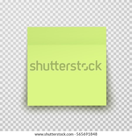 Office paper sheet or sticky sticker with shadow isolated on a transparent background. Vector lime post note for your design.