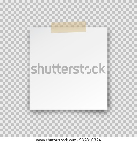 Office paper sheet pin on sticky tape with shadow isolated on a transparent background. Vector white post note for your design.