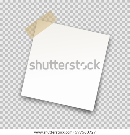 Office paper sheet pin on sticky tape with shadow isolated on a transparent background. Vector white post note for your design