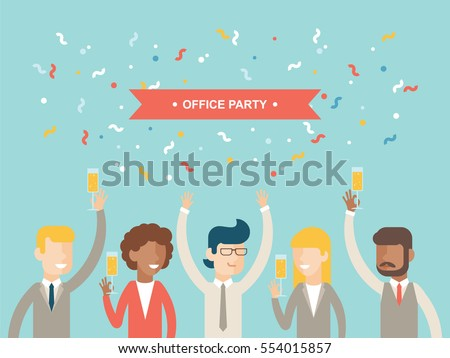 Office party happy people celebrating holidays flat vector greetings card / invitation