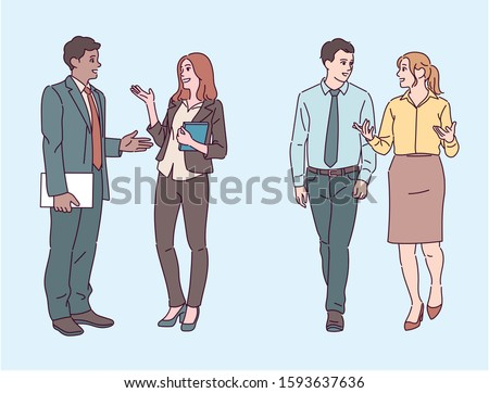 Office people are talking to each other. hand drawn style vector design illustrations.  Stockfoto ©