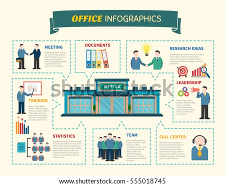 Office people Infographics web page with information about research of idea business training teamwork flat vector illustration