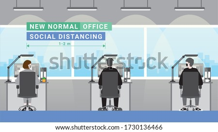 Office people lifestyle after pandemic covid-19 corona virus. New normal is social distancing and wearing masks. Back view of employees keeping distance and work. Flat design style vector concept.