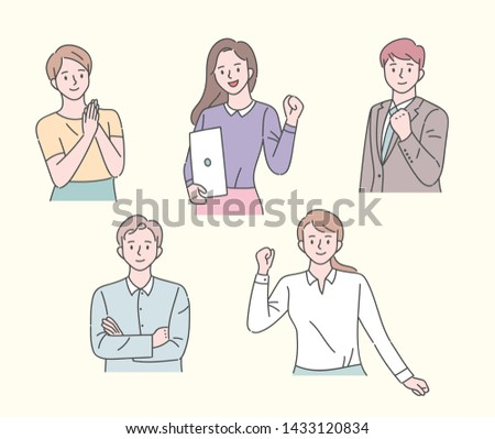 Office people's cheering gestures. flat design style minimal vector illustration.