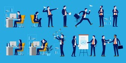 Office people set - A collection of business characters to populate your workplace scene. Businessmen, businesswomen, handshake, presentation and working people. Vector illustration.