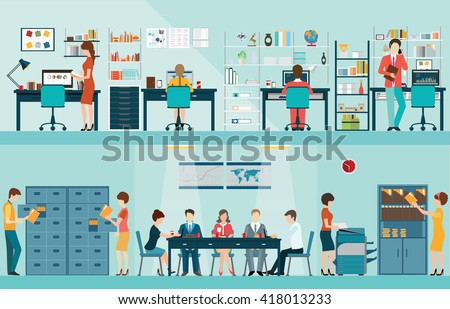 office people with office desk