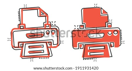 Office printer icon in comic style. Fax cartoon vector illustration on white isolated background. Text printout splash effect business concept. Stock photo ©