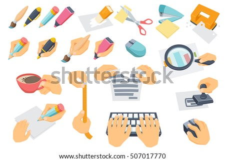 Office process set. Searching, typing on keyboard, put stamp, tear paper, measuring, coffee break, cut with scissors, use mouse, punch, stapler, eraser. Hand with pen, pencil, brush, marker